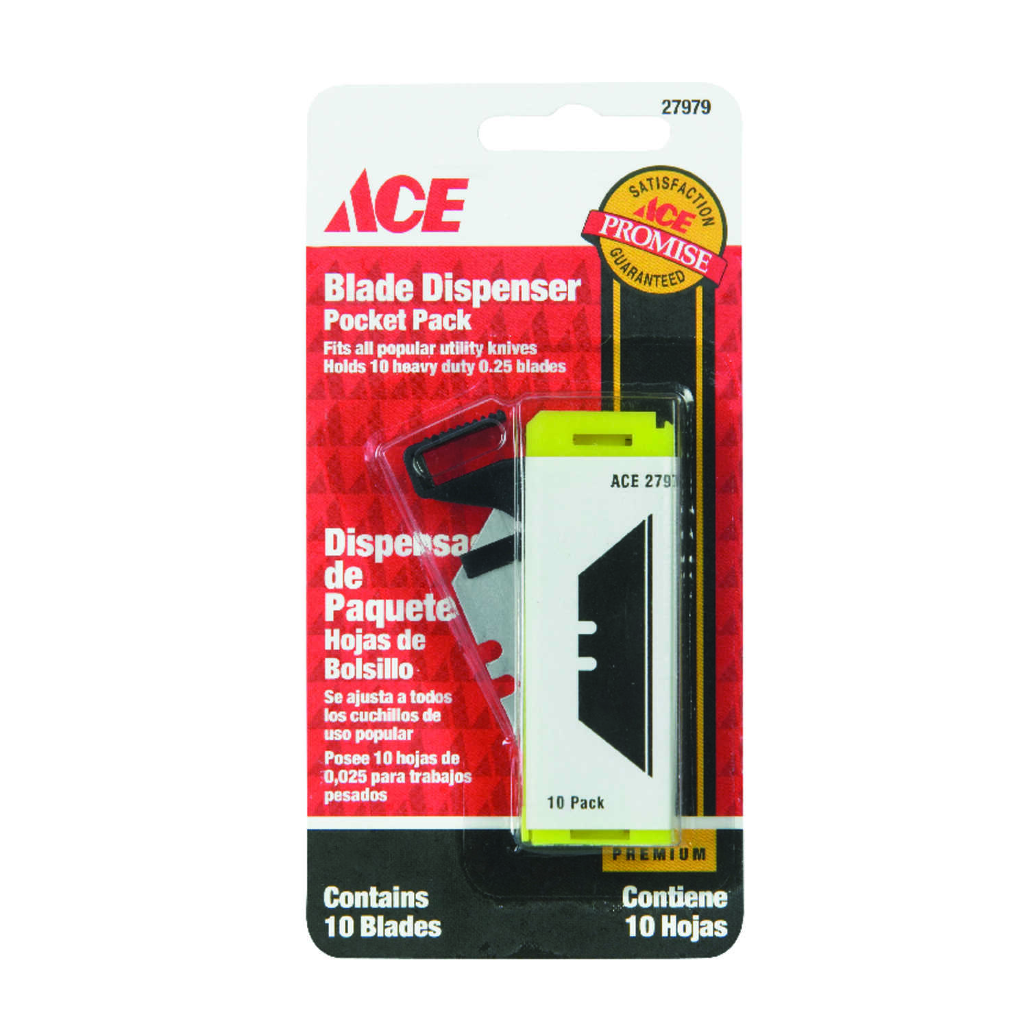 Ace  Pocket Pack  0.025 in.  Carbon Steel  Pocket Pack Blade Dispenser  10 pk