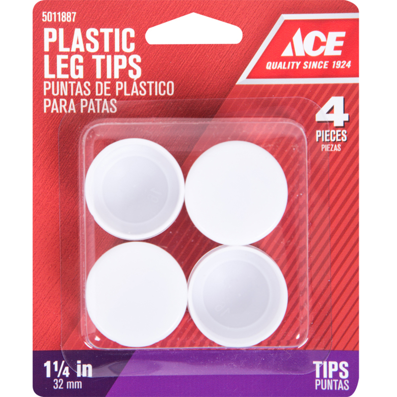 Ace  Plastic  Table/Chair Pads  White  Round  1-1/4 in. W x 1-1/4 in. L 4 pk