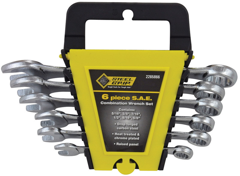 Steel Grip  Multiple   SAE  Wrench Set  6 pk