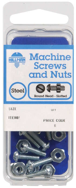 Hillman  No. 8-32 in.  x 3/4 in. L Slotted  Round Head Zinc-Plated  Steel  Machine Screws  10 pk