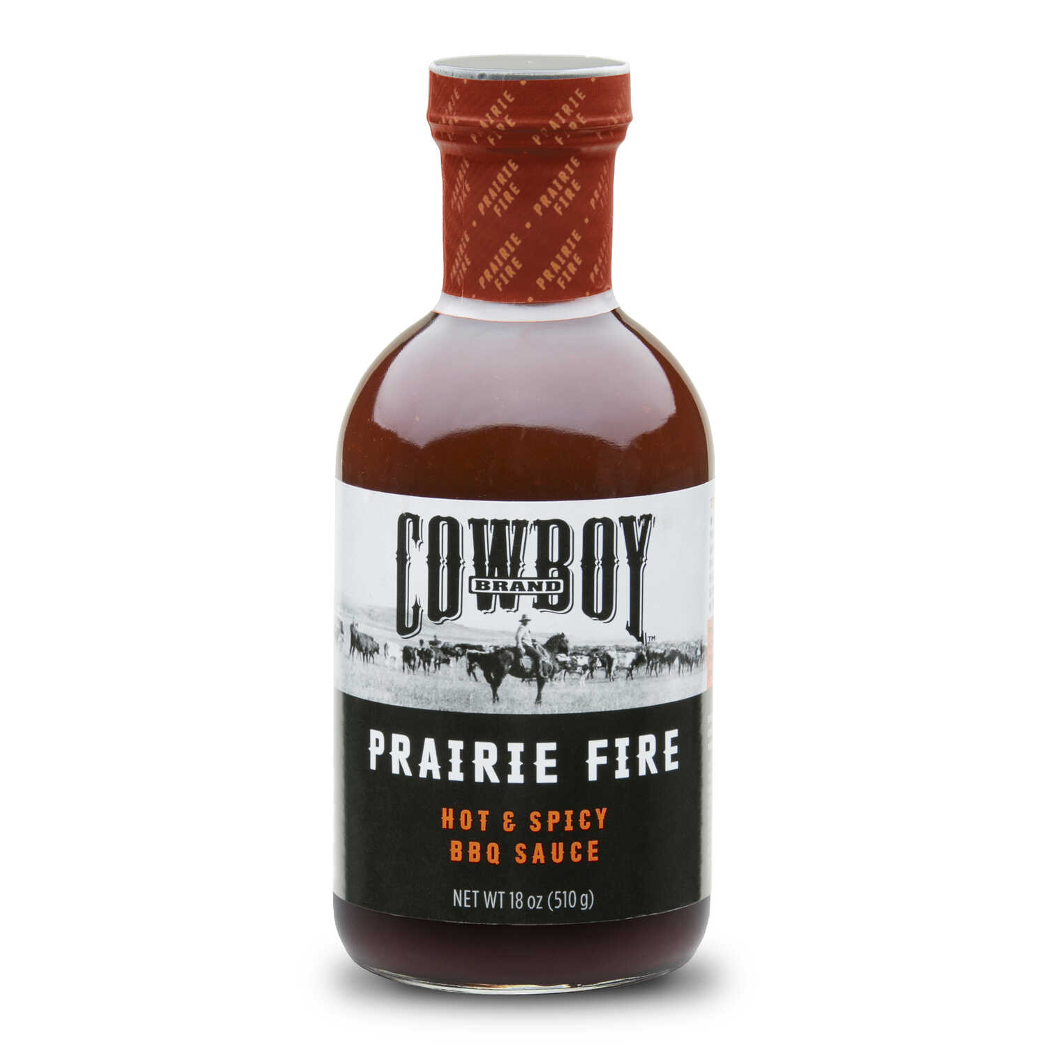 Cowboy  Prairie Fire  Hot and Spicy  BBQ Sauce  18 oz.