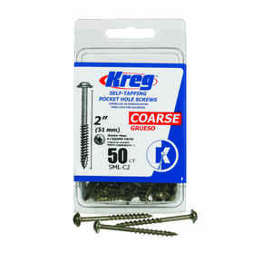 Kreg Tool  No. 8   x 2 in. L Square  Washer Head Zinc-Plated  Steel  Pocket-Hole Screw  50 pk
