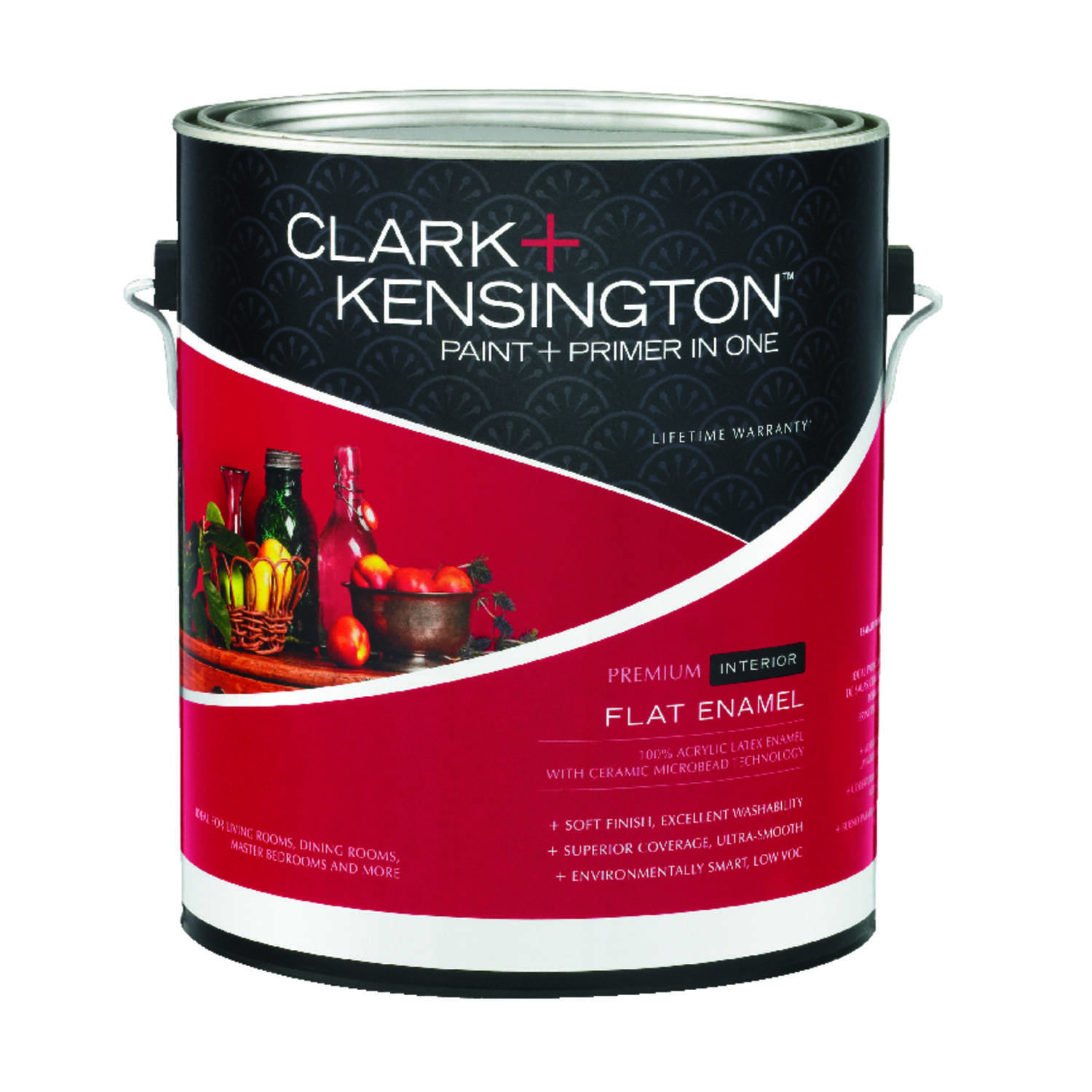 Clark kensington flat enamel designer white acrylic latex paint and primer 1