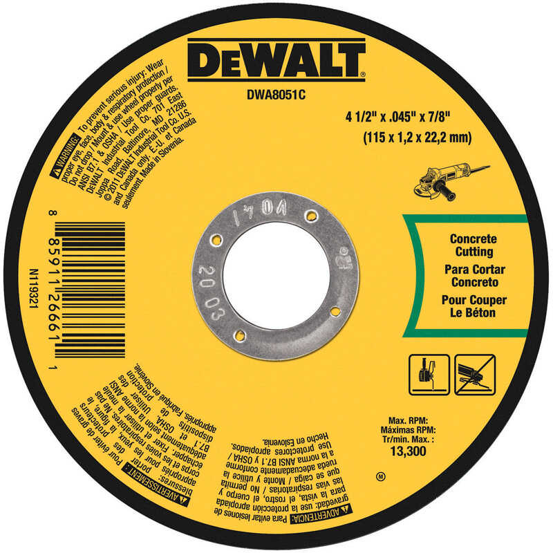DeWalt  4-1/2 in. 7/8 in. in.  Aluminum Oxide  Masonry Cutting Wheel  1 pc.