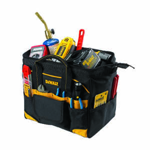 DeWalt  5.25 in. W x 11.75 in. H Polyester  Backpack Tool Bag  29 pocket Black/Yellow  1 pc.