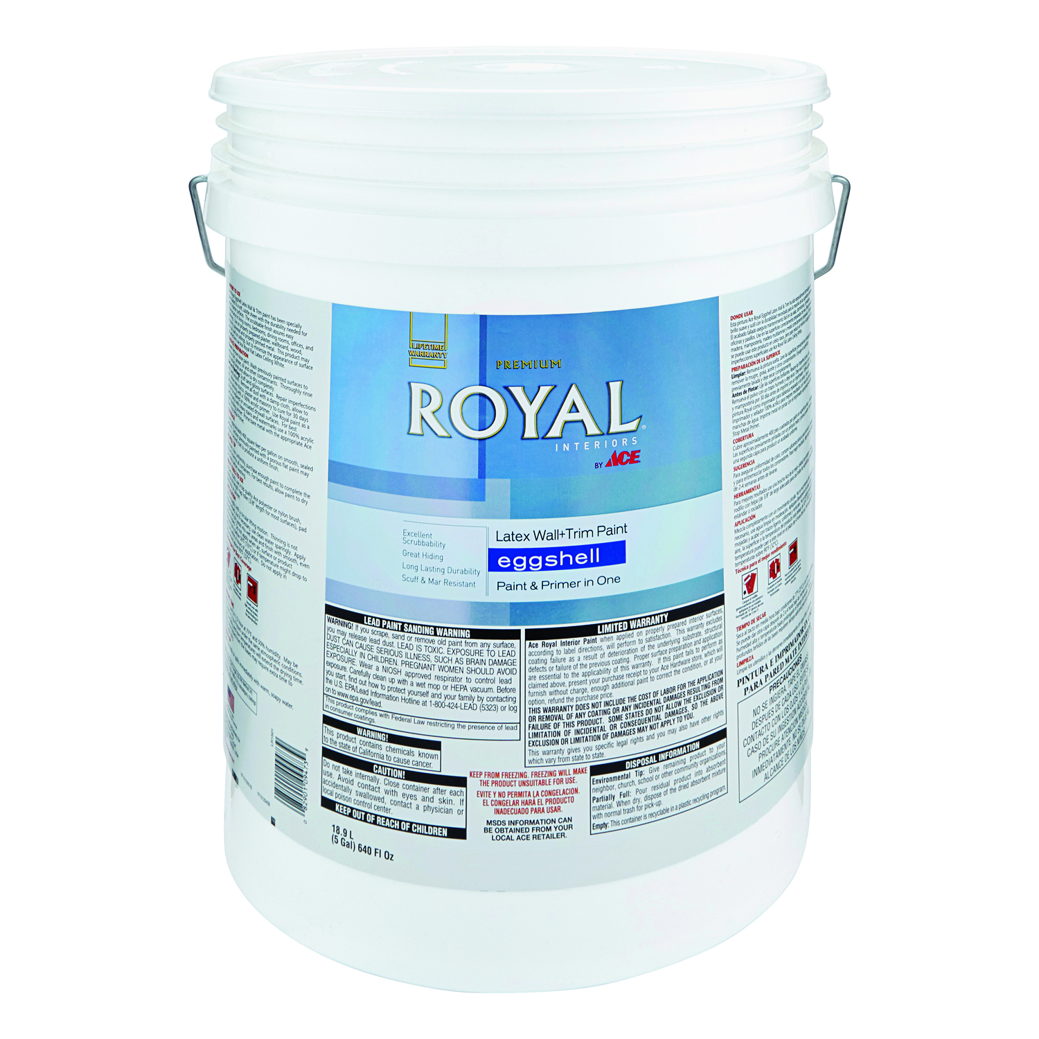 Ace  Royal  Eggshell  Mid-Tone High-hide  Vinyl Acetate/Ethylene  Interior Latex Wall+Trim Paint  5