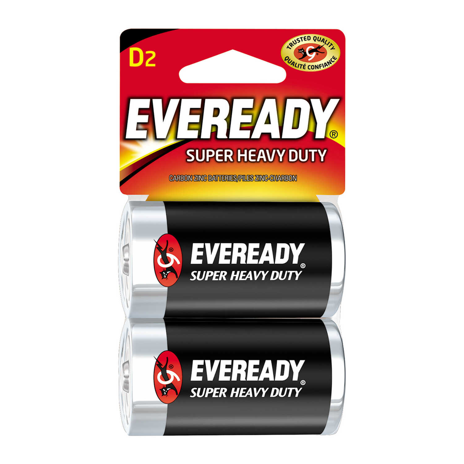 Eveready  Super Heavy Duty  D  Zinc Carbon  Batteries  2 pk Carded