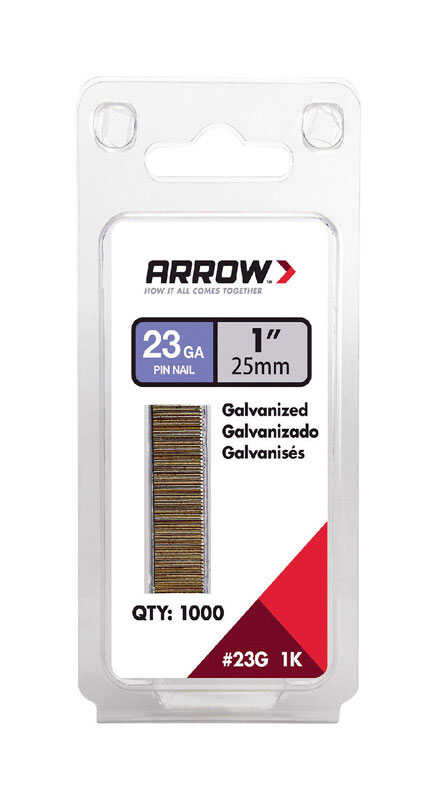 Arrow Fastener  23 Ga. Smooth Shank  Straight Strip  Pin Nails  1 in. L x 0.03 in. Dia. 1,000 pk