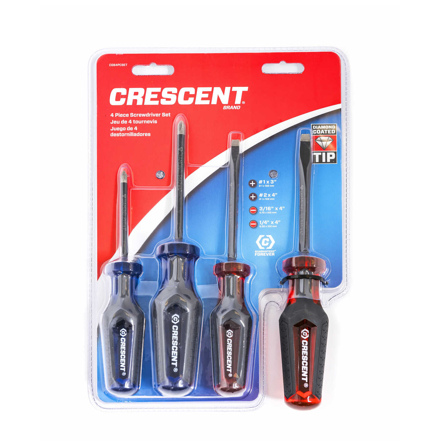 Crescent  Diamond Coated  Screwdriver Set  Blue/Red  4 pc.