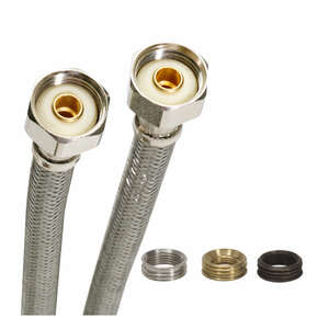 Fluidmaster  Fits All  1/2 in. IP   x 1/2 in. Dia. IP  Stainless Steel  Faucet  Supply Line  30 in.