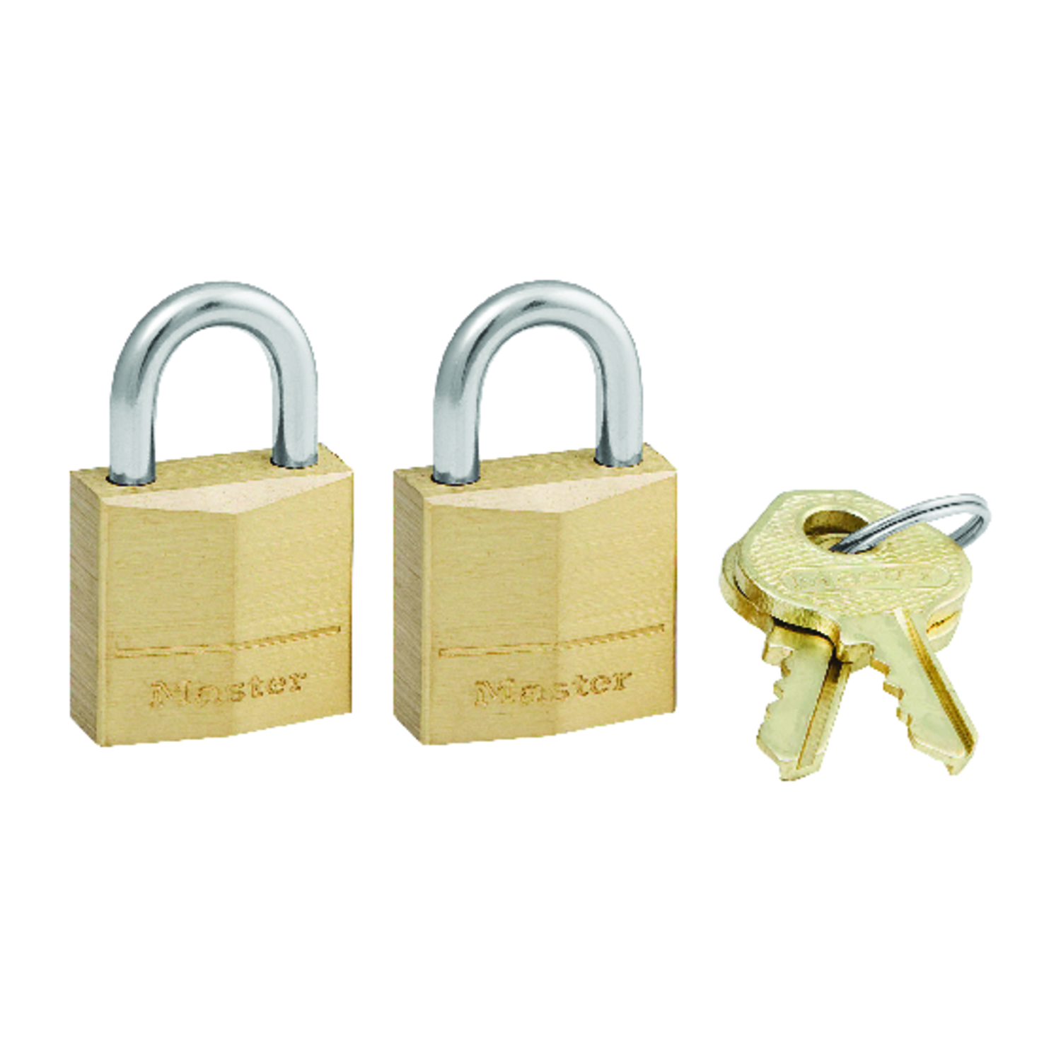 Master Lock  3/4 in. H x 7/16 in. W Brass  Padlock  2 pk Keyed Alike Pin Cylinder