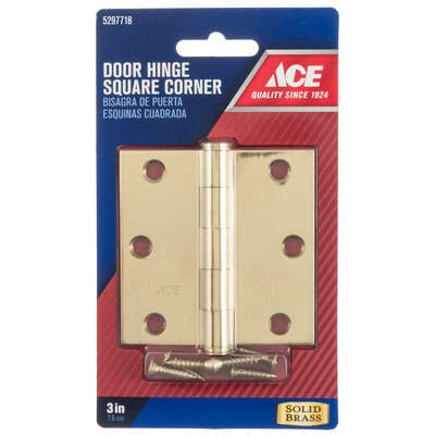 Ace 3 in. L Bright Brass Residential Door Hinge 1 pk
