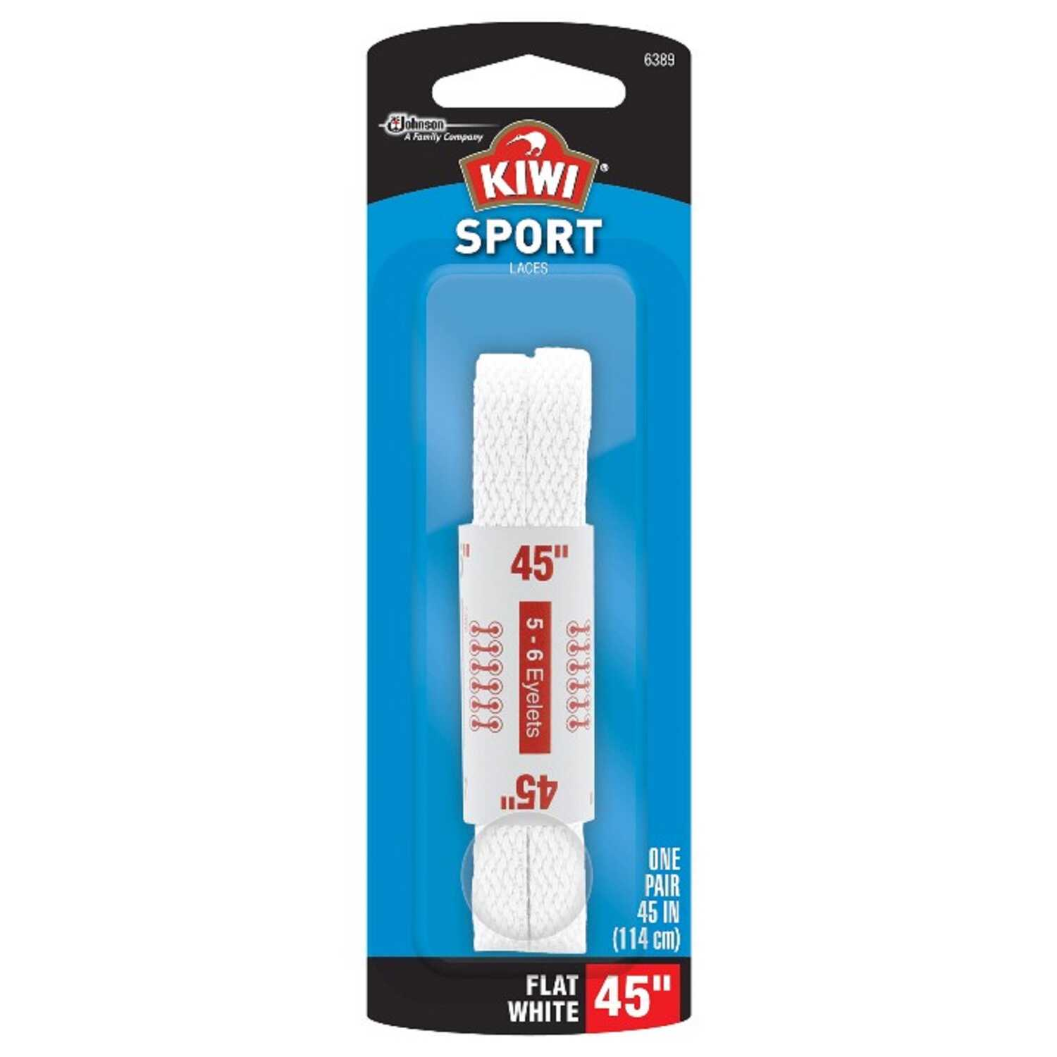 Kiwi  Sport  45 in. White  Athletic Shoe Laces