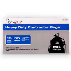 Home Plus  55 gal. Contractor Bags  Flap Tie  15 pk