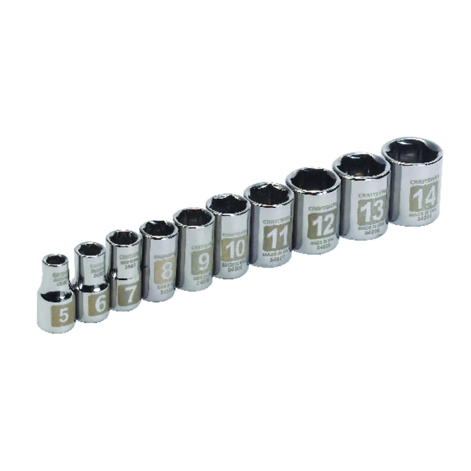 Craftsman  14 mm  x 1/4 in. drive  Metric  6 Point Socket Set  10 pc.