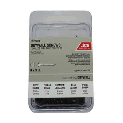 Ace  No. 8   x 3 in. L Phillips  Drywall Screws  50 pk