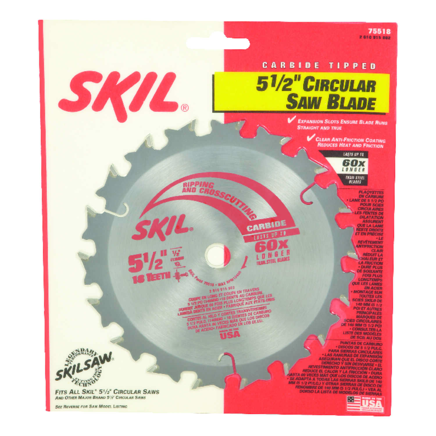 Skil  5-1/2  Dia. HD5510  Circular Saw Blade  Carbide Tipped Steel  18 teeth 1 pk