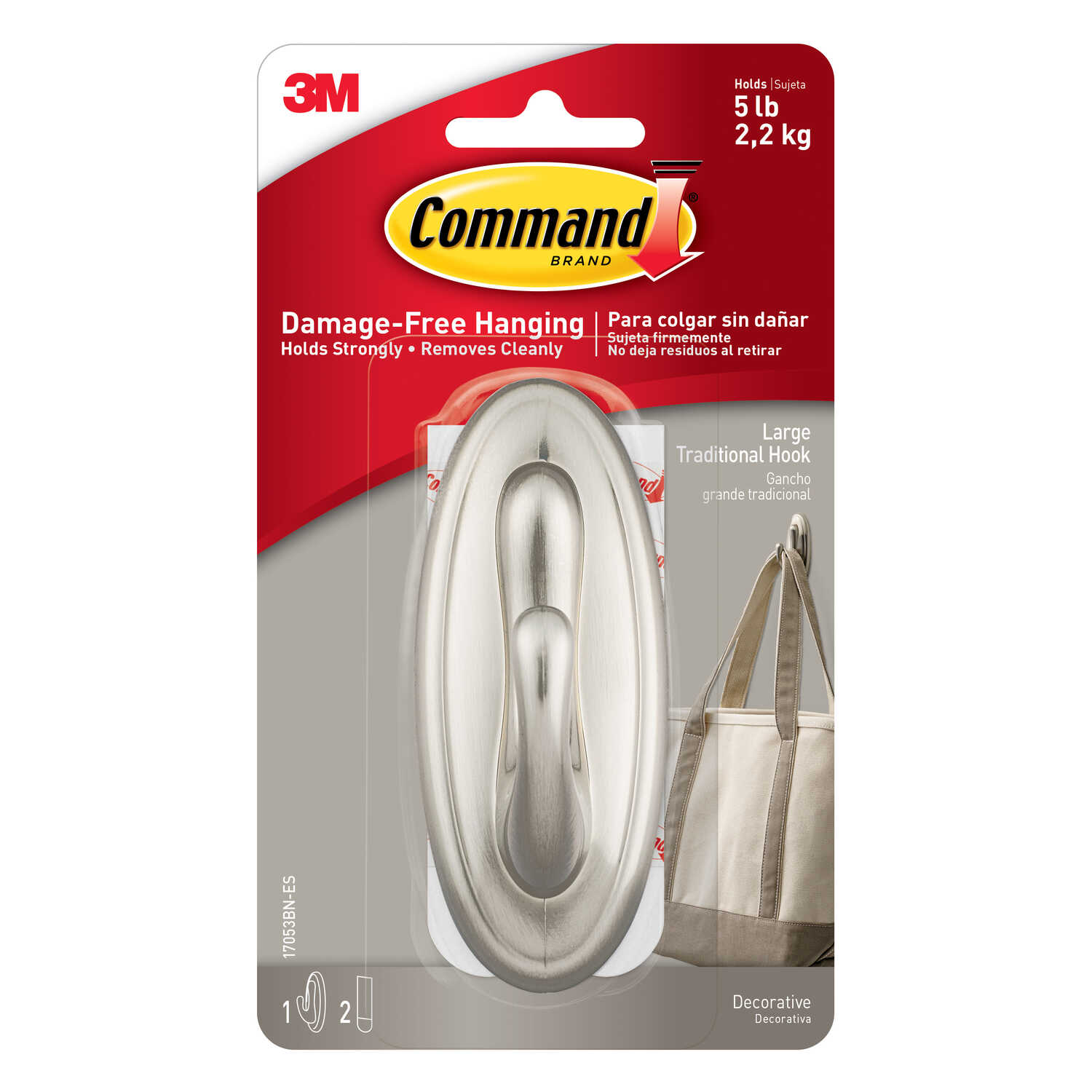 3M  Command  Large  Plastic  Hook  6.75 in. L 1 pk