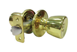 Faultless  Tulip  Polished Brass  Metal  Entry Knobs  3 Grade Right Handed