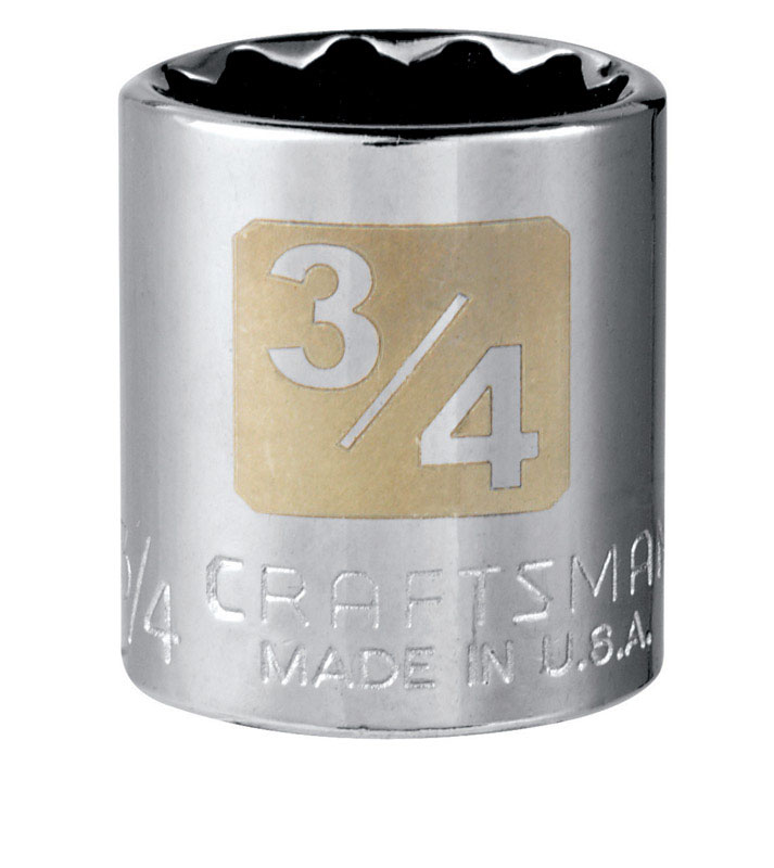 Craftsman  3/4 in.  x 3/8 in. drive  SAE  12 Point Standard  Socket  1 pc.