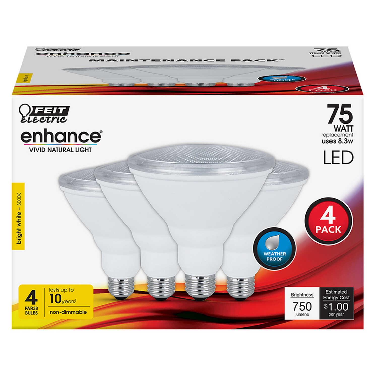FEIT Electric  Enhance  PAR38  E26 (Medium)  LED Bulb  Bright White  75 Watt Equivalence 4 pk