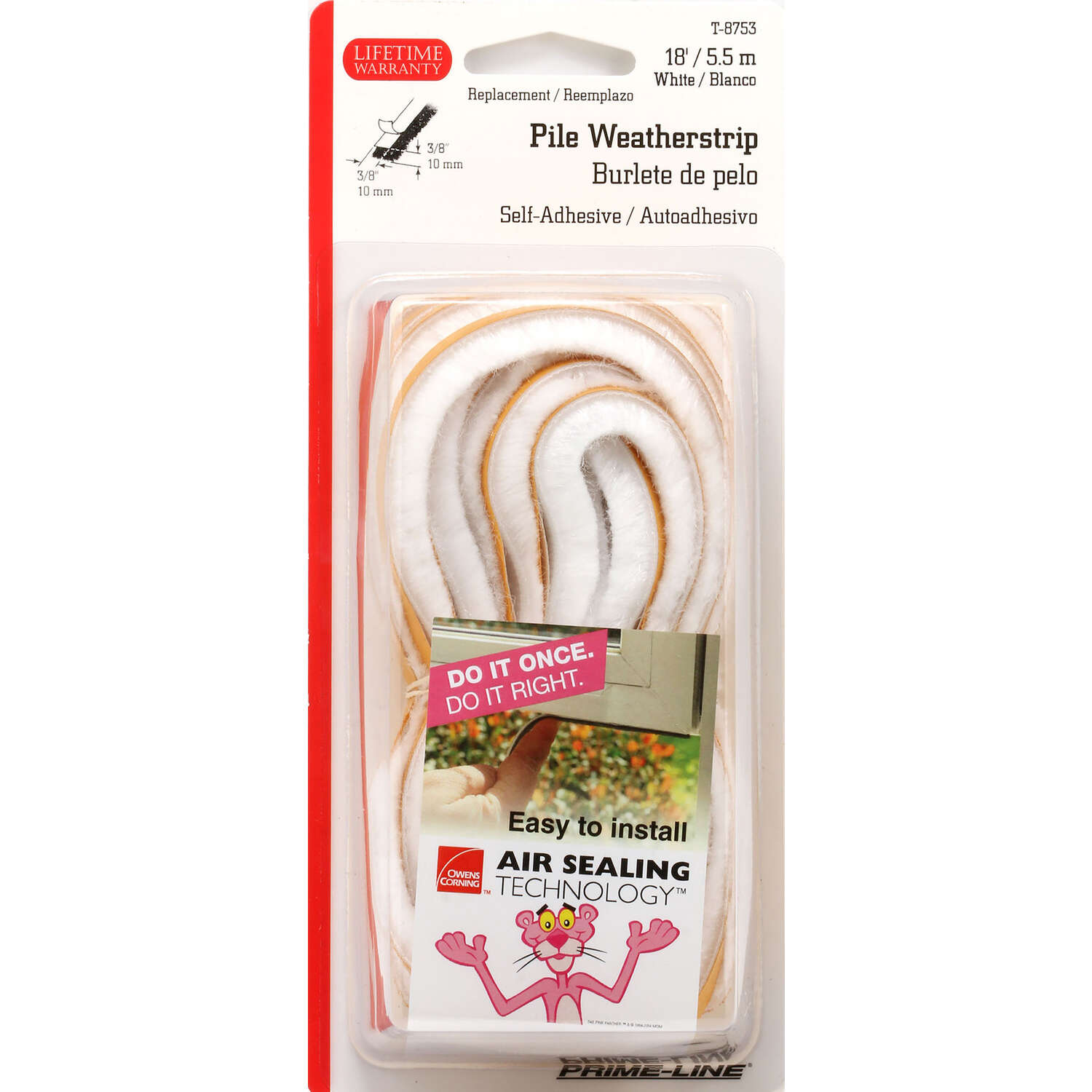 Prime-Line  Owens Corning  White  Vinyl  Weatherstrip  For Doors and Windows 18 ft. L x 0.38 in.