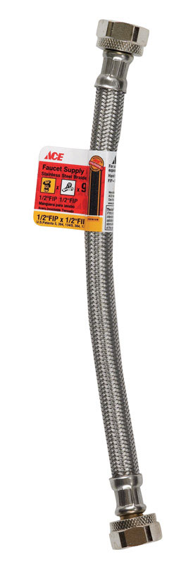 Ace  1/2 in. FIP   x 1/2 in. Dia. FIP  Braided Stainless Steel  9 in. Supply Line