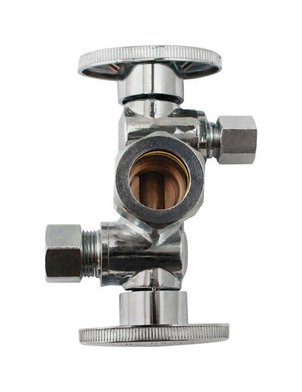 Keeney  5/8  CTS   x 3/8   Compression  Brass  Dual Shut-Off Valve