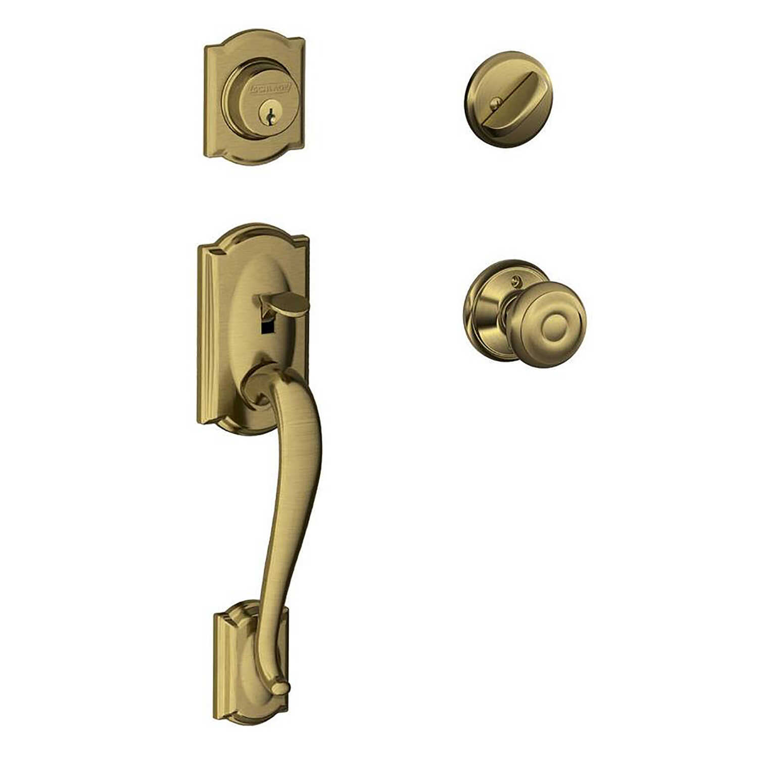 Schlage  Camelot, Accent  Antique Brass  Steel  Entry Handleset  ANSI Grade 2  1-3/4 in.