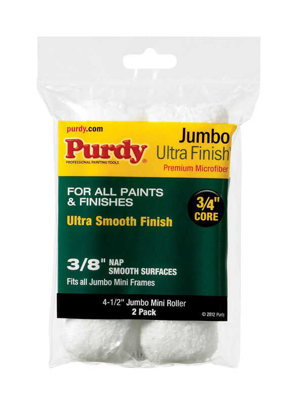 Purdy  Ultra Finish  Microfiber  3/8 in.  x 4.5 in. W Mini  2 pk Paint Roller Cover