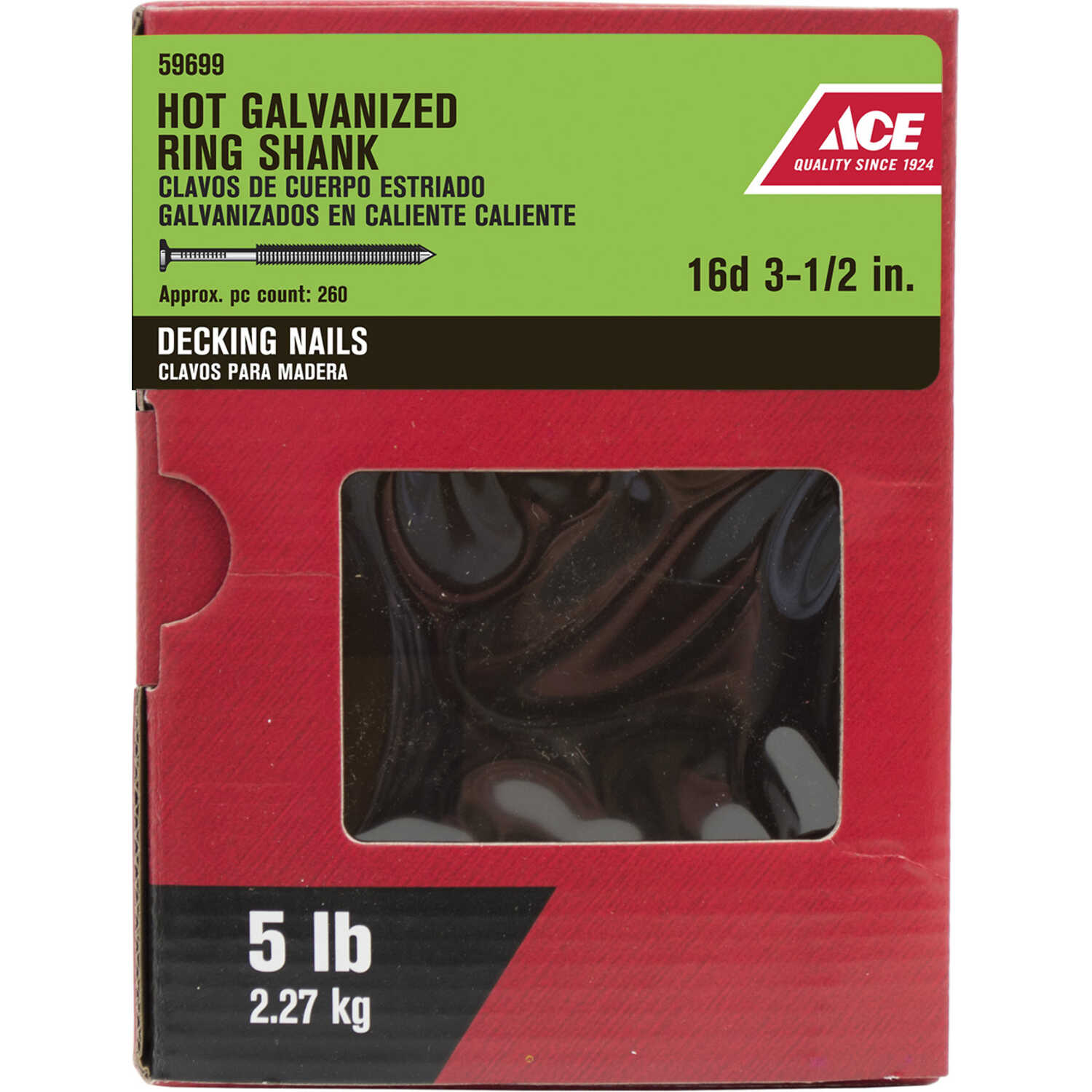 Ace  16D  3-1/2 in. L Deck  Steel  Nail  Flat  Annular Ring Shank  5 lb.