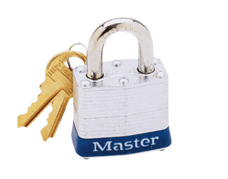 Master Lock  1-5/16 in. H x 1-9/16 in. L x 1-5/8 in. W Laminated Steel  4-Pin Cylinder  Padlock  1 e