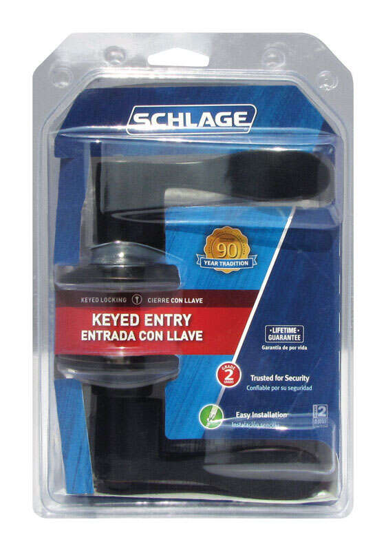 Schlage  Accent  Aged Bronze  Steel  ANSI Grade 2  1-3/4 in. Entry Lockset