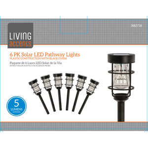 Living Accents  Black  Solar-Powered  LED  Pathway Light  6 pk