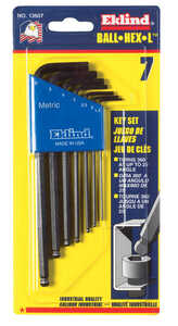 Eklind Tool  Assorted  Metric  Long Arm  7 pc. Balldriver Hex Key Set  Multi-Size in.