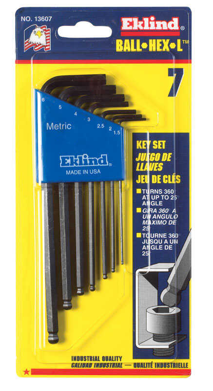 Eklind Tool  Assorted  Metric  Long Arm  Balldriver Hex Key Set  Multi-Size in. 7 pc.