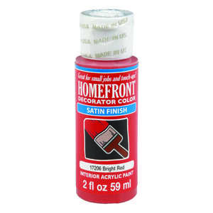 Homefront  Decorator Color  Satin  Bright Red  Paint  Acrylic Latex  2 oz.