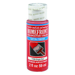 Homefront  Decorator Color  Satin  Satin  Hobby Paint  Bright Red  2 oz.