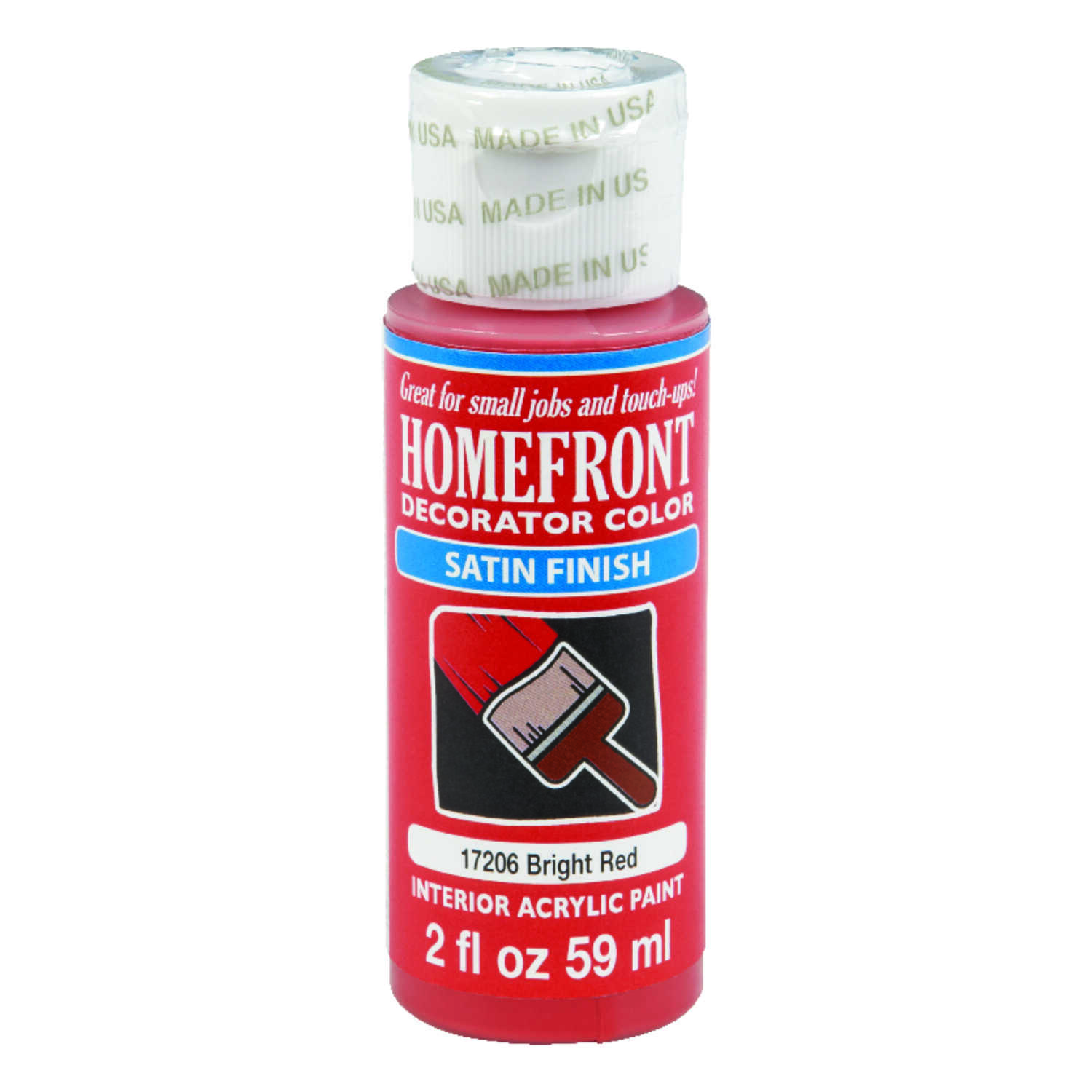 Homefront  Decorator Color  Satin  Bright Red  Paint  2 oz.