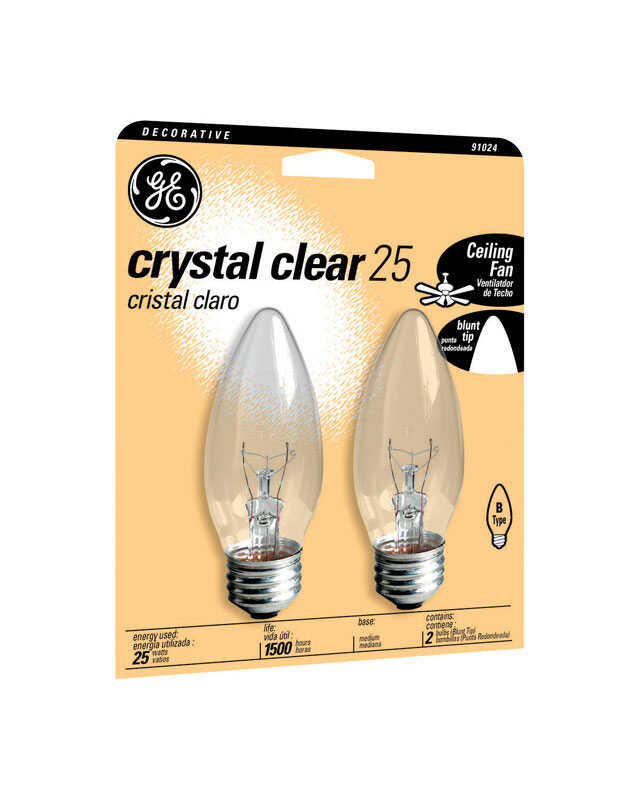 GE  25 watts B13  Incandescent Bulb  170 lumens Soft White  Decorative  2 pk