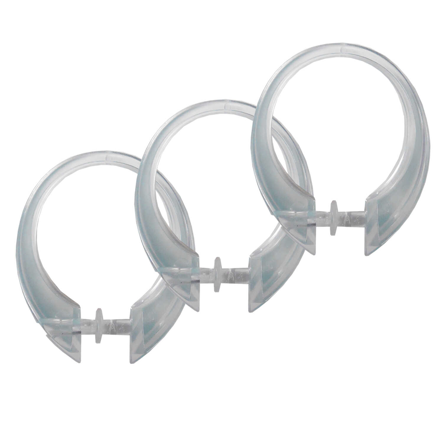 Excell  Clear  Clear  Plastic  Deluxe Button-Up  Shower Curtain Rings  12 pk