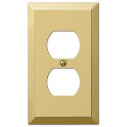 Amerelle Century Polished Brass Brass 1 gang Stamped Steel Duplex Outlet Wall Plate 1 pk