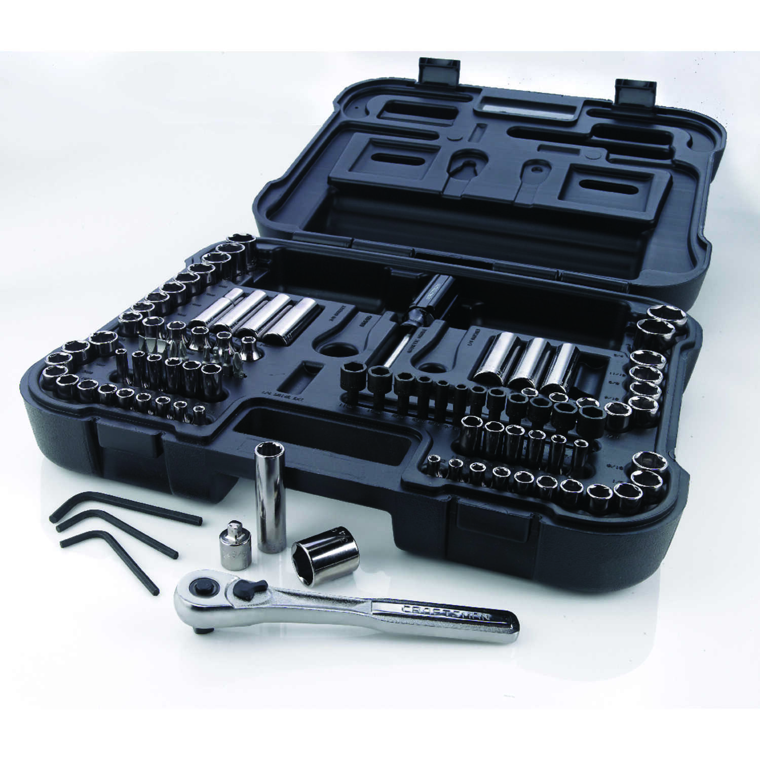 Craftsman 3 8 In X 1 4 And Drive Metric Sae 6 12 Point Mechanic S Tool Set 104 Ace Hardware