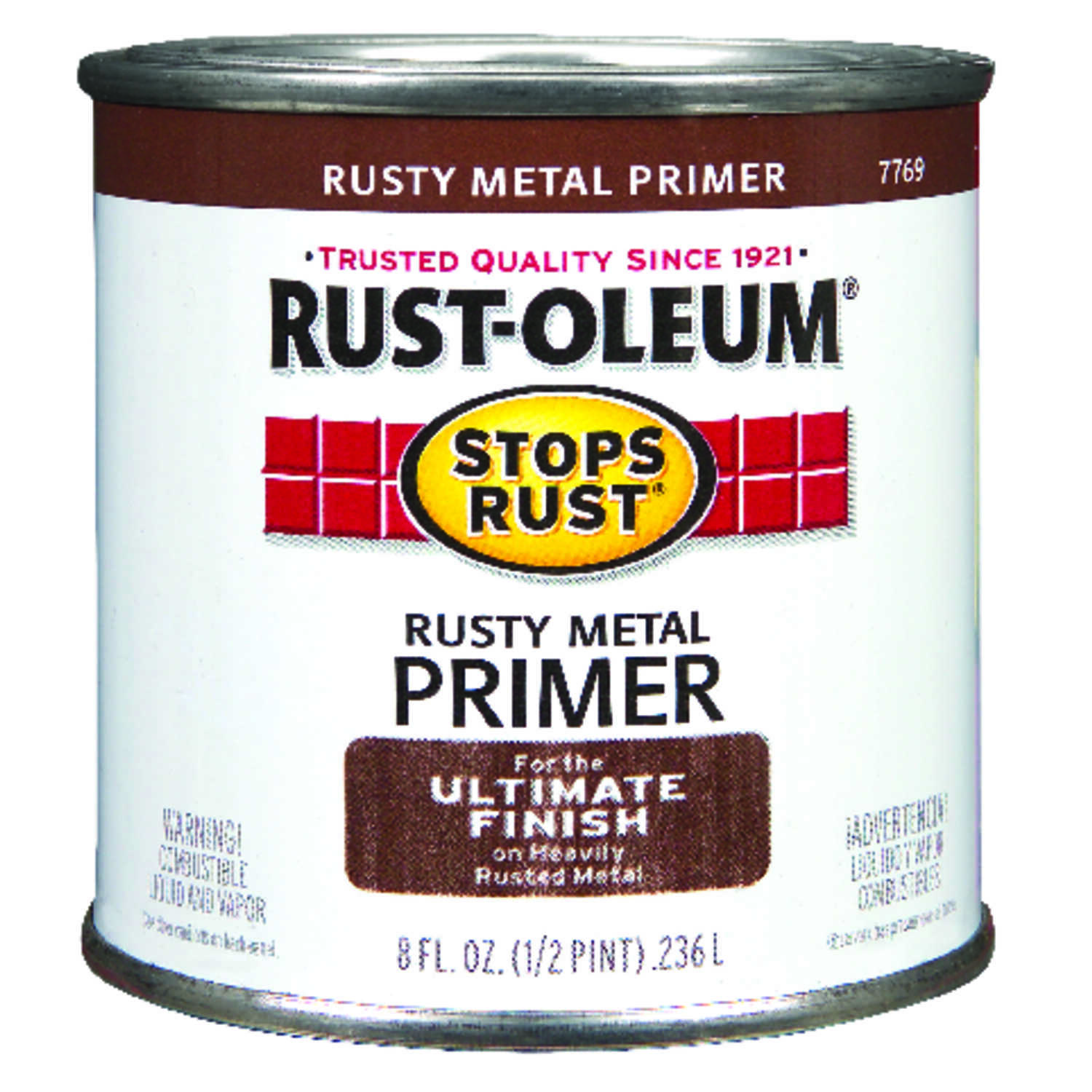 Rust-Oleum  Stops Rust  Brown  Primer  For Metals 0.5 pt.