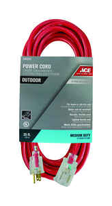 Ace  Outdoor  25 ft. L Red  Extension Cord  14/3 SJTOW