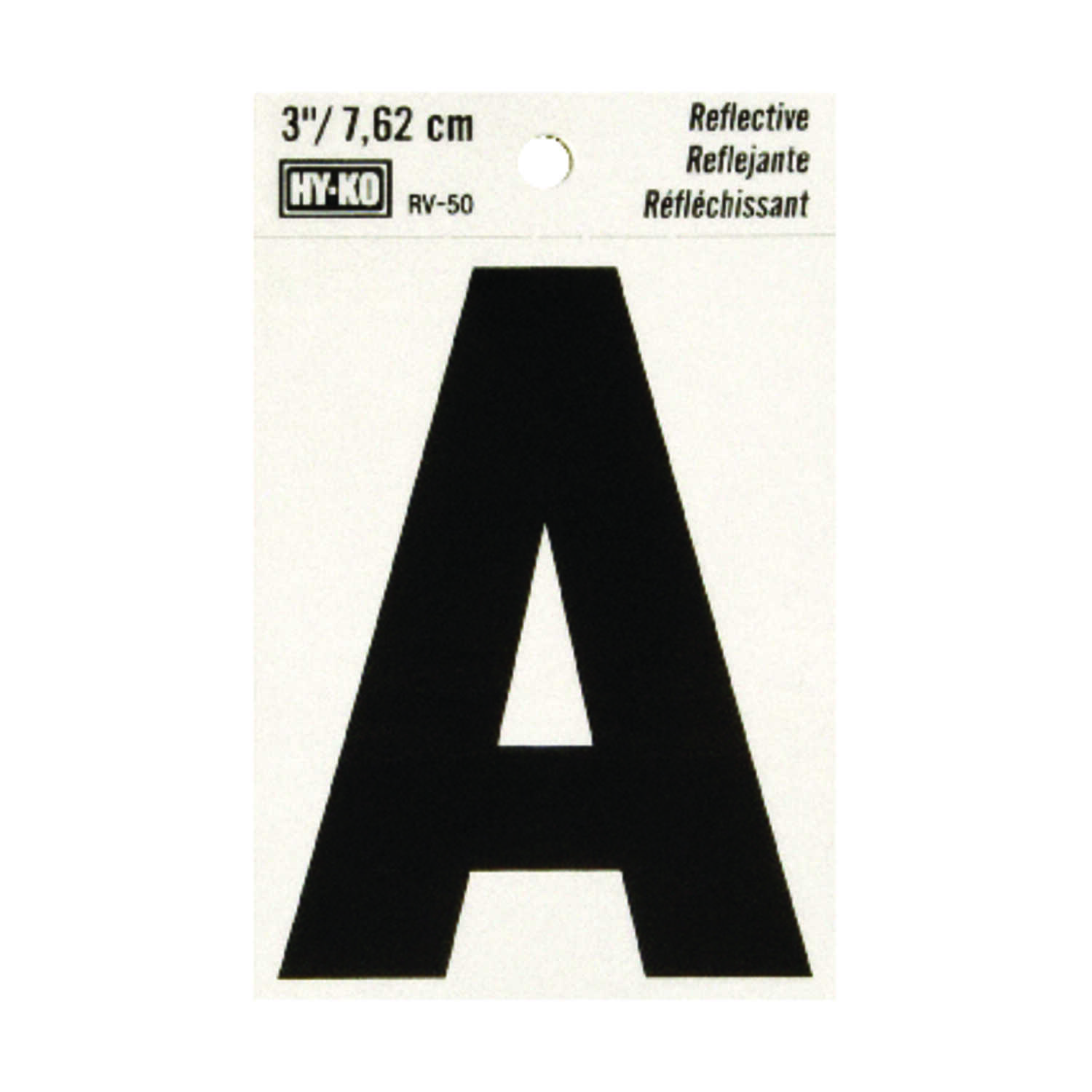 Hy-Ko  Reflective Black  Vinyl  Letter  Self-Adhesive  A  3 in.