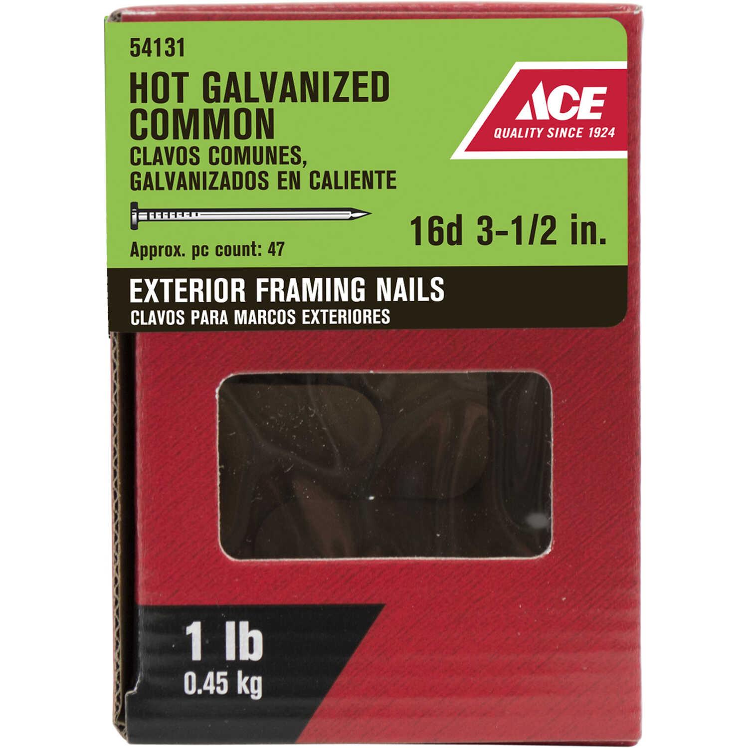 Ace  16D  3-1/2 in. L Common  Steel  Nail  Flat Head Smooth Shank  1 pk 1 lb.
