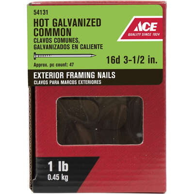 Ace  16D  3-1/2 in. Common  Hot-Dipped Galvanized  Steel  Nail  Flat  1 lb.