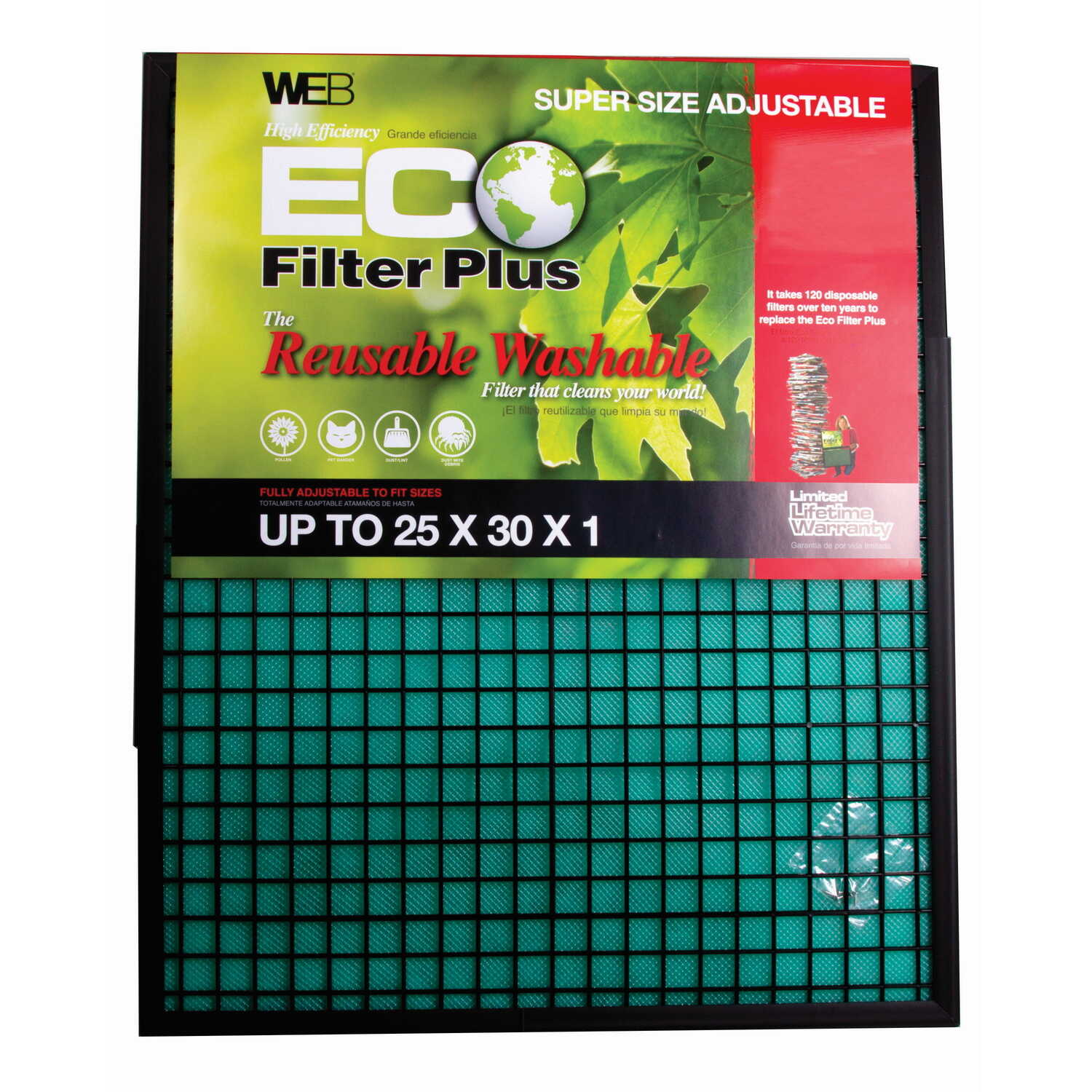 Web  Eco Filter Plus  25 in. W x 30 in. H x 1 in. D Polyester  Air Filter