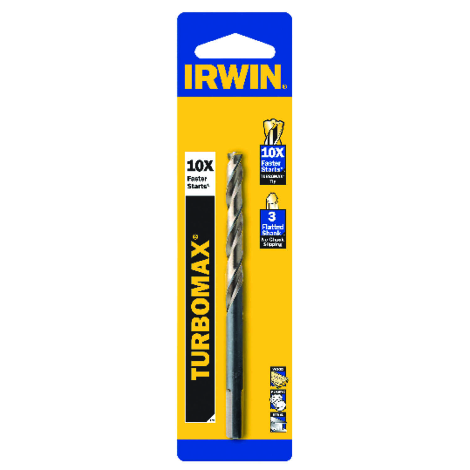 Irwin  Turbomax  31/64 in. Dia. x 5-7/8 in. L High Speed Steel  Drill Bit  1 pc.